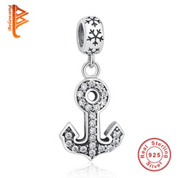 Wholesale Silver Anchor Charm Necklace - BELAWANG Brand New 925 Sterling Silver Pendant Anchors Shape Crystal Charm Beads Fit Pandora Bracelet&Necklace DIY Beads Jewelry Making