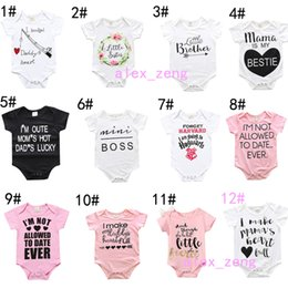 Wholesale Newborn Jumpsuits - INS Baby Summer rompers 2017 newest infant toddlers Letters jumpsuit newborn one-piece soft cotton jumpsuit 12 Styles