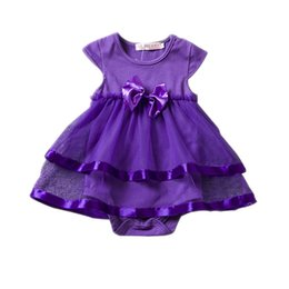 Wholesale Long Sleeve Infant Tutu Dress - INS Baby big bow TuTu Rompers One Pieces Infant Wear Kids Clothes Children Clothing 2017 Summer Jumpsuit and Romper Girl Sushine Dress