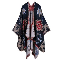 Wholesale Folk Star - Fashion Lady Sarongs Scarfs Plaid Scarf Shawl Bohemia Travel Folk Style Thick Cashmere-like Cloak High Qualtiy Winter Women pashminas