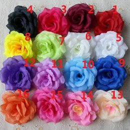 Wholesale Blue Pink Peony - 100pcs 8cm Silk Rose Flower Heads 16 Colors for Wedding Party Decorative Artificial Simulation Silk Peony Camellia Rose Flower