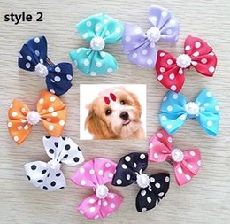 Wholesale christmas dog hair accessories - Christmas gift ! 4.5CM Dot Bowknot French Barrette Pet Dog Hair Bows Clips Puppy Cat Grooming Hair Accessories 100pcs