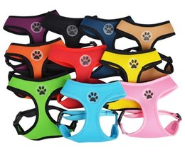 Wholesale Dog Paws - Free Shipping! Wholesale MOQ 12pcs Soft Air Mesh Breathable Adjustable Pet Dog Harness Vest with Paw Label Mixed colors available