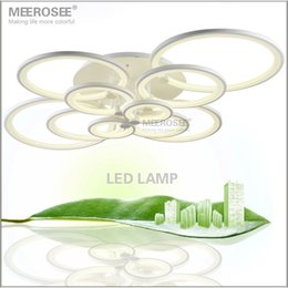 Wholesale Wedge Rings - White LED Ceiling Light Fixture LED Ring Lustre Light Large Flush Mounted LED Circles Lamp for dining sitting bedroom