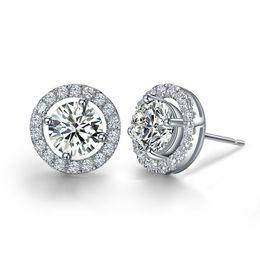 Wholesale Gem Studded - Luxury Quality 2 Carats SONA Synthetic Gem Halo Studded Wedding Earrings, Wedding Jewelry,Wedding Jewellry, Earrings