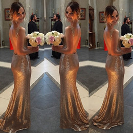 Wholesale Maid Honour - Sparkling Gold Sequins 2016 Mermaid Bridesmaid Dresses Cheap Open Back Sexy V Neck Plus Size Formal Gowns Sweep Train Maid of Honour Dress