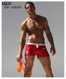 Wholesale Boxers Sexy Pants - AQUX male swimming trunks Pocket boxer swimming trunks Men's fashion suits sexy beach pants bathing suit Wholesale