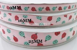Wholesale Ladybug Ribbon Wholesale - RG0011 3 sizes mixed Printing Grosgrain Ribbons Pink 5 Yards lot Ladybug brand ribbon Decorated Craft and Scrapbooking