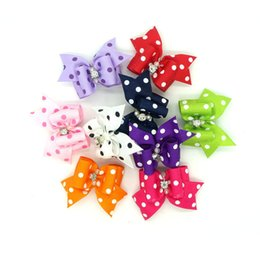 100pcs Handmade Rhinestone Dot stampa Cute Pet Cat Dog Hair Bows Grooming Accessories Archi colorati misti da piccoli collari elettrici del cane fornitori