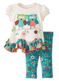 Wholesale Owl Set Girls Autumn - Baby Cothes Kids Summer Suit Girl Owl Pattern Top +Pants 2pcs set Kids clothes 100% cotton Good Quality free shipping