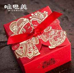 Casal de festa de casamento on-line-.100 pcs Chinês caixa de Doces Da Caixa Do Casamento vermelho fita Hot stamping Laser Cut Caixas de Presente de Casamento Caixas de Embalagem Do Favor de Casamento TH2087