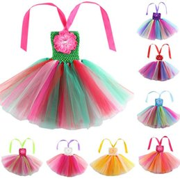 Wholesale Coloured Flower Girl Dresses - Rainbow Stripe Girl TUTU Dresses Lace Performing Dance Dress Flower Strapless Party Dress 3 P L