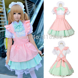 Wholesale Maid Uniform Cute - Wholesale-Lolita Cute Princess Short Sleeve Apron Dress Maid Outfits Meidofuku Uniform Cosplay Costume S-L