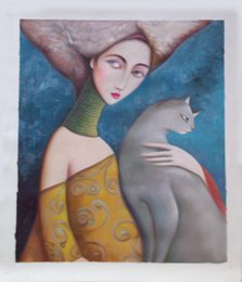 Wholesale Ladies Hand Painted - Sell hand-painted canvas oil painting #999 Modern figure pretty lady with cat for home  office decor (dinning room bedroom) in free shipping
