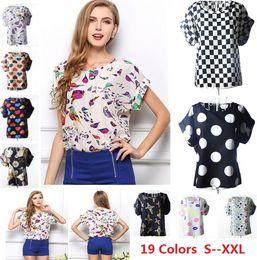 Wholesale Print Work Blouse - S M L XL XXL Women Bird Printed Chiffon Blouses for Work Wear Polk Dot Shirt Women Tops Batwing Short-sleeve blusas 1039