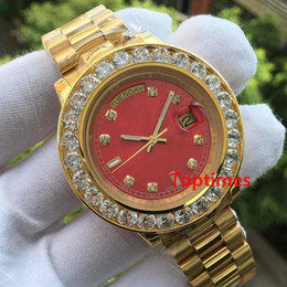 Wholesale Diamond Big - Mens Brand Role Watch Big Diamonds Day-Date Gold Stainless Steel President Automatic Mechanical Wristwatch Red Mens Reloj Luxury Watches