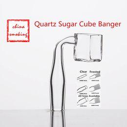 Wholesale Pipe Polishing - Quartz Sugar Cube Banger Nail 14mm 18mm 19mm Female Male 100% Real Quartz 90 Degree Polished Joint for Square Pipes