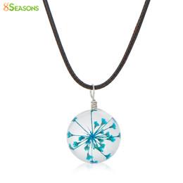 "Wholesale Glass Globe Necklace - Wholesale- 8SEASONS Transparent Glass Globe Dried Flower Necklace Black Wax Cord Fuchsia 44.5cm(17 4 8"") long, 1 Piece"