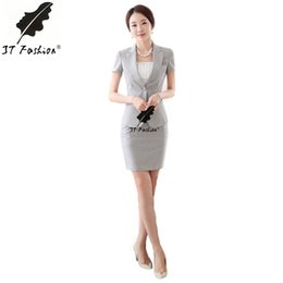 Wholesale Female Business Blazer - Wholesale-Womens Business Suits Formal Office Uniform style Suits New 2016 Summer Autumn Women Work Wear Female Blazer Skirt suit