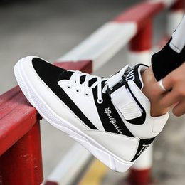 Wholesale Hip Hop High Top Sneakers - Winter New Fashion Men Casual Shoes Sport High-Top Sneakers Canvas PU Leather Flats Boys Hip-hop Shoes Size EUR39-44