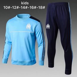 Wholesale Children S Sports Suits - new 2017 Olympic Marseille KIDS Tracksuit Soccer Jogging Football Tops Coat Pants Sports Training 16 17 18 child OM Football Track Suit