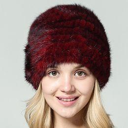 Wholesale Novelty Hand Warmers - Ms. LeeFur Winter Women Mink Fur Hat Warm Fashion Beanies pompoms decoration cute girls caps hand knitted fur hat