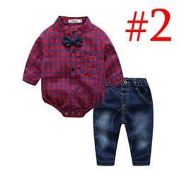 Tuta gentile online-Baby Boys Gentleman Pagliaccetto Sets Toddler Cotton Abbigliamento Plaid a maniche lunghe Pagliaccetti Jeans 2 pezzi Set Boutique Tuta