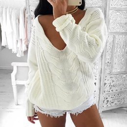 Wholesale Pull Off - Autumn Winter Sexy off Shoulder White Knitted Pullover Sweaters Women 2017 Hollow Out Long Sleeve V Neck pull femme hive FS3054