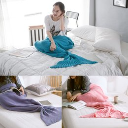 Wholesale Thread Blanket - One piece Mermaid Tail Blanket Knitted blanket Adult baby Little Mermaid Blanket Knit Cashmere TV Sofa Blanket