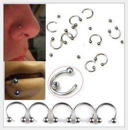Wholesale Double Stud Ring - 100pcs  lot 4 color Body Piercing Jewelry stainless steel CBR ring double gem nose stud earring horseshoe 2016 Fashion Bijoux