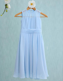 Wholesale Beautiful Girl Photos - 2016 Beautiful Cute Jewel Junior Bridesmaid Dresses Flower Girls' Dresses for Formal Occasion Custom Made Cheap A-Line Tea-length