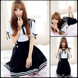 Wholesale Gothic Lolita Blue Dress - Brand New 2017 Blue Black Royal Blue Mini Short Sailor Cosplay Costumes Retro Gothic Lolita Dresses