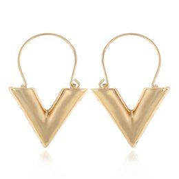 Wholesale Women Earrings Free Shipping - Find Me 2017 fashion Vintage contract luxury big V alloy Drop Earrings for Women Jewelry gold color dangle Earrings wholesale free shipping