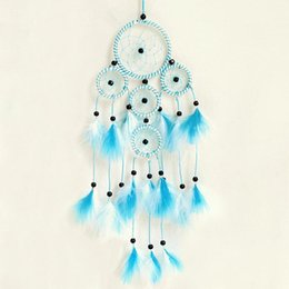 Wholesale Home Office Safe - Fashion Charms Blue Handmade Dreamcatcher Indian Style Net Feather Pendant Hanging Decoration Ornament For Home Car Office Shop