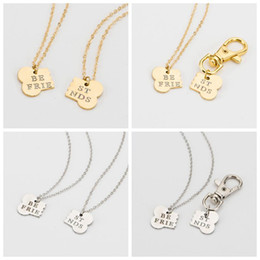 men gold chain sets Coupons - 2 Pcs   Set Gold Silver Color Dog Bone Best Friends Charm Necklace And Dog Owner Women Men Friendship Pet Chain Keychain Jewelry