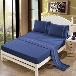 Wholesale hand embroidery bedding set - NEW 2017 4pcs 1000TC Polyester Cotton Queen or King Size Bed Sheet Set (embroidery). 4 Pieces - free shpping