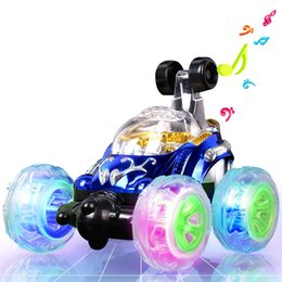 Wholesale Remote Race Cars - Wholesale-Stunt car roll music remote control car off-road remote control car racing movable mold charging children toy car