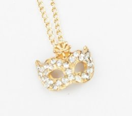 Wholesale Mask Diamond Pendants - 2016 wholesale price Mask diamond necklace Party mask necklace hot sale for women