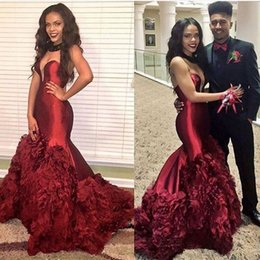 Wholesale Deep V Sweetheart Neckline Dress - Sexy Burgundy Mermaid Prom Dresses 2016 Plunging Neckline Tiered Ruffles Sweep Train Evening Dresses African Style Formal Party Dresses