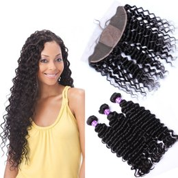 Wholesale Wholesale Process Hair - Free Middle 3 Way Part Silk Base Lace Frontal 13x4 With Weaves Deep Curly Virgin Brazilian 3Bundles With Silk Top Frontals 4Pcs Lot