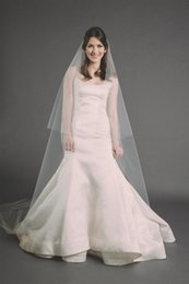 Wholesale Cathedral Veil Without Comb - New Hot Saling High Quality 2T Cut Edge Without Comb Lvory White Wedding Veil Cathedral Bridal Veils handmade Three Meters Long