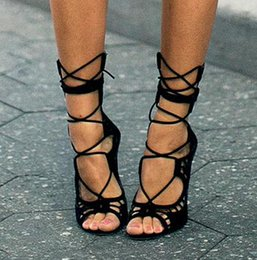 Wholesale Ladies Designer Black Lace Dress - Women Pumps Brand Designer High Heels Cut Outs Lace Up Open Toe Party Shoes Woman Gladiator Sandals Women Ladies Zapatos Mujer