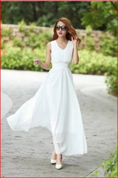 Wholesale Bohemian Maxi Skirt Dress - Free shipping 2017 summer new female dress Slim thin chiffon skirt beach dress bohemian dress V-neck impervious