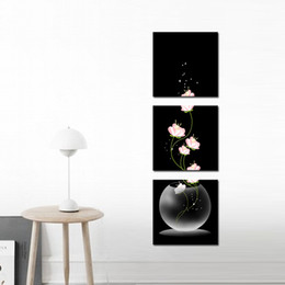 Wholesale Still Life Oils - Night Beautiful Still Life Paintings the Flowers 3 Pieces Landscape for Living Room Home and Wall Decoration