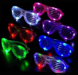 Wholesale Light Up Party Shades - Slotted & Shutter Shades Light Up Unisex Flashing Glasses For Adults & Children LED glasses sun glow glasses party festival bar rave toy