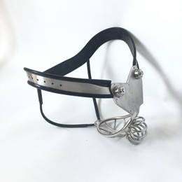 Wholesale Male Chastity Model T - Male Curve Waist Stainless Steel Chastity Belt Ventilate Scrotum Groove Cock Penis Cage,Model-T Super Ergonomic Adjustable Bdsm Sex Toy