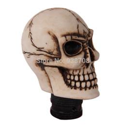 Wholesale Skull Shift Knobs Manual - Resin Human Carved Skull Head Car Gear Shift Knob Shifter Lever Universal Fit Manual Transmission L2105