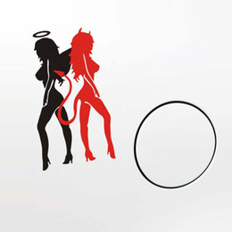 Wholesale Sticker Devil Car - Wholesale Sexy Angel & Devil Girl-Racer Good Bad Car Window Laptops Mirror Vinyl Decal Sticker Whole Body Use Self-adhesive and Removable
