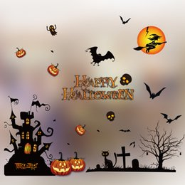 Wholesale Arcade Lights - Whole Sale DHL fast shipping Halloween color electrostatic stickers 50*70cm window decoration window stickers supermarket Arcades Hotel