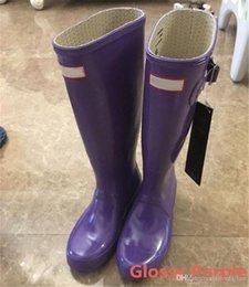 Wholesale Hunter Wellingtons - Hunter boost Drop Shipping Women Wellies Rainboots Ms. Glossy Wellington Rain Boots Wellington Knee Fast Delivery Welly Boots Shoe Rainshoes